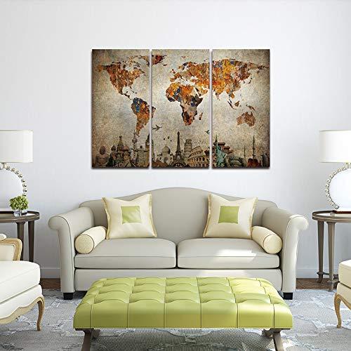 WSNDGWS Decoración para el hogar Lienzo Mapa del Mundo Pintura en Aerosol Lienzo Sin Marco H2 30x40cmx3