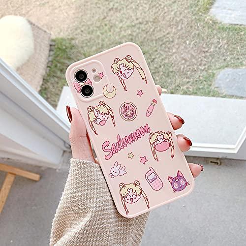 FQSCX iPhone Case Case Cartoon Cute Girl Sailor Moon iPhone Case para iPhone 12 Pro X XR XS MAX 7 8 Plus Funda Soft TPU Cover para iPhone 11 Pro MAX Funda a Prueba de Golpes Foriphone11 2