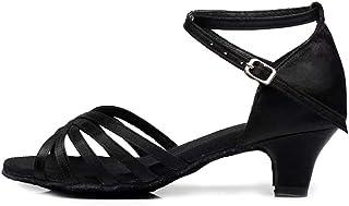 HROYL Chaussure de Danse Latine Fille/Femme Hauteur du Talon 4 cm Boucle Sexy Satin Maquette FR-XGG