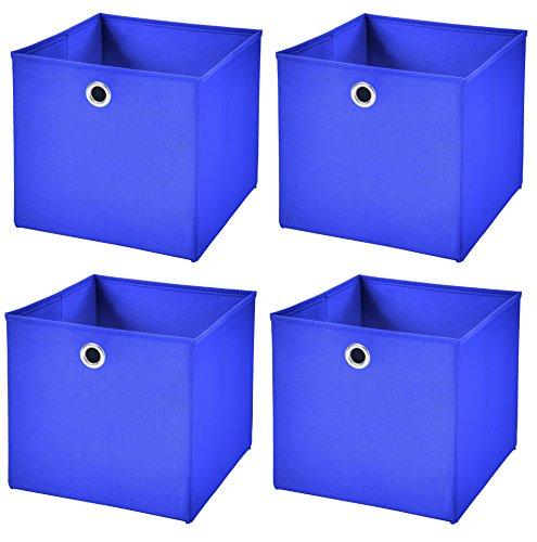 Stick&Shine 4X Aufbewahrungs Korb Blau Faltbox 33 x 33 x 33 cm Regalkorb faltbar
