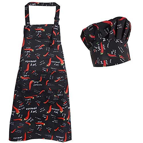 Morwealth Delantal de Cocina unisex con gorro de cocinero para Hombre Mujer Chef Cocinero Camarero Hogar Restaurante Bar Pandería Hotel