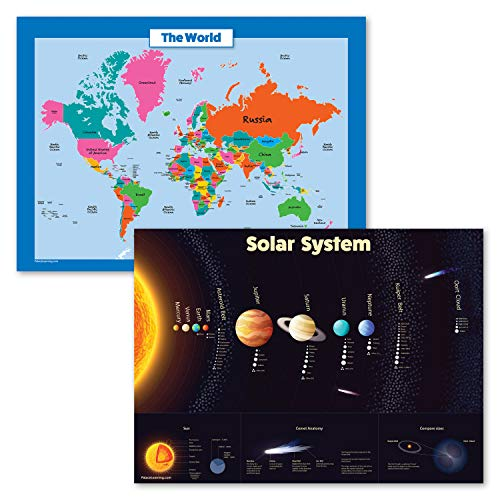"""2 Pack - World Map for Kids and Solar System Poster Set - Map of The World Wall Chart & Space Poster (Laminated, 18"""" x 24"""")"""
