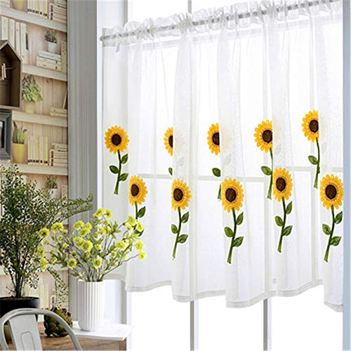 WPKIRA Princess Style Sunflower Short Curtain Cafe Curtains Kitchen Window Curtain Drapes Elegant Door Divider Sheer Voile Sheer Valances 1 Panel