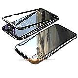 Jonwelsy Funda para iPhone XS/X, Adsorción Magnética Parachoques de Metal con 360 Grados Protección Case Cover Transparente Ambos Lados Vidrio Templado Cubierta para iPhone XS/X (Negro)