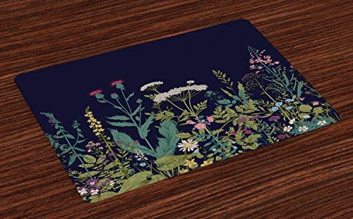 ABAKUHAUS Botanisch Placemat Set van 4, Landelijk Kruiden Bloemen, Wasbare Stoffen Placemat voor Eettafel, Veelkleurig