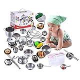 Hearthrousy Küchenspielzeug Zubehör Kinderküche Kochgeschirr Edelstahl Pfannenset 25 Stück Küchenutensilien Set Küchenspiel Set Mit Aufbewahrungsbox für Mädchen und Jungen