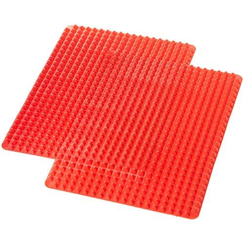 DERNISH Silikon-Backmatte mit Pyramiden-Struktur, nicht haftend, Fett-reduzierend, 2er Pack