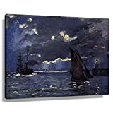 Vintage Claude Monet A Seascape, Versand by Moonlight
