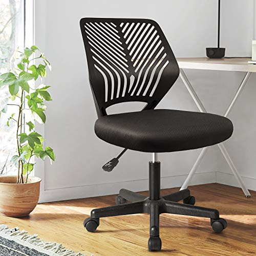 BOSSIN Task Chair Armless Office Chair Mesh Computer Chair Small Desk Chair with Back Support Adjustable Swivel Home Chair for Work Spaces(Black)