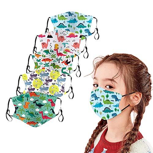 5Pcs Kids Face_Masks Reusable Washsble Face Bandanas Breathable Seamless Cute Print Cotton Children