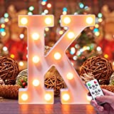 Lifegoo LED Letter Lights 26 Alphabet White Marquee Letters Night Light Sign with Diamond Bulbs Remote Control Timer Dimmable for Wedding/Party Christmas Lamp Home Bar (K)