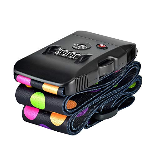 Koffergurte, ToWinle Gepäckgurte Travel Accessories Kofferband Gepäckband mit TSA-Zahlenschloss und Kofferanhänger (Tupfen)