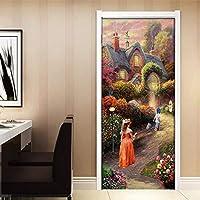 ドアステッカー ウォールステッカー壁画のホームインテリアドアの壁紙をペイントする3D PVC防水自己粘着ドアステッカーヨーロッパのガーデンヴィラオイル (Sticker Size : 95x215cm)