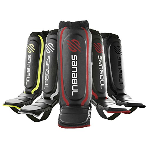Sanabul Essential Shin Guards Red, Small/Medium