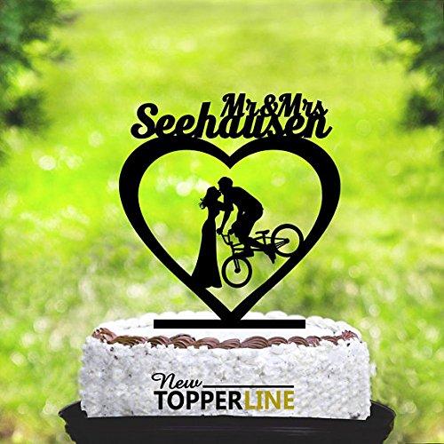 Decoración para tartas de bicicleta, decoración para tarta de bicicleta, diseño con texto en inglés Mr and Mrs, siluetas para novia y novio en bicicleta, silueta para bicicleta: Amazon.es: Hogar