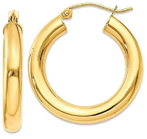 14 Karat 585 Gold Hochglanz Creolen Ohrringe Gelbgold (26 Millimeter)