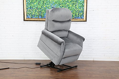 Divano Roma Furniture EXP57-1S-GR Classic Plush Power Lift Recliner...