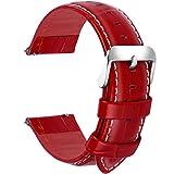 Fullmosa 18mm 20mm 22mm 24mm Bracelet Montre Cuir Véritable, 7 Couleurs Bamboo Bracelet de Montre Dégagement Rapide avec Fermoir en Métal Inoxydable pour Homme/Femme 18mm Rouge