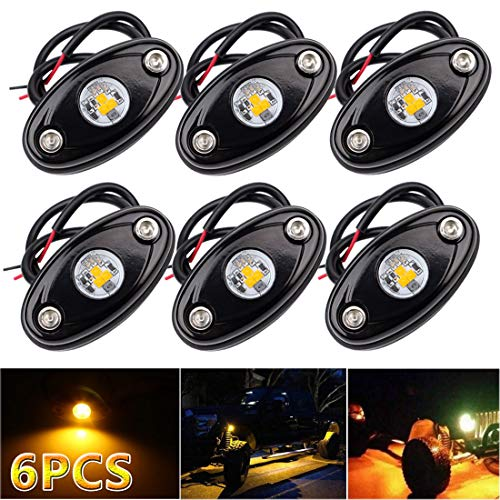 LEDMIRCY LED Rock Lights Amber Kit for Off Road Truck ATV SUV Car Boat High Power Underbody Glow Neon Trail Rig Lights Underglow Lights Waterproof Shockproof(Pack of 6,Amber)