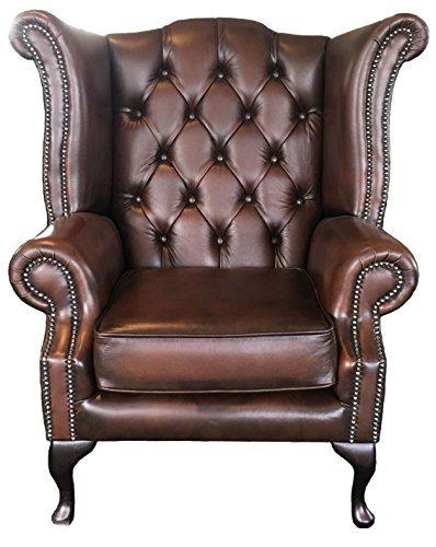 Chesterfield - Sillón de piel auténtica, color marrón