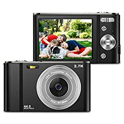 ZORNIK Fotocamere Digitali Compatte 2,88 Pollici LCD Ricaricabile HD 44 Mega Pixel, Zoom Digitale 16x, Studenti per Adulti/Anziani/Bambini (black)