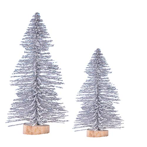 LOadSEcr Artificial Plant,Plastic Artificial Plants, 2Pcs Fake Pine Tree Figurines Mini DIY Snow Frost Village Doll House Xmas Decor for Bathroom, House Decorations Silver