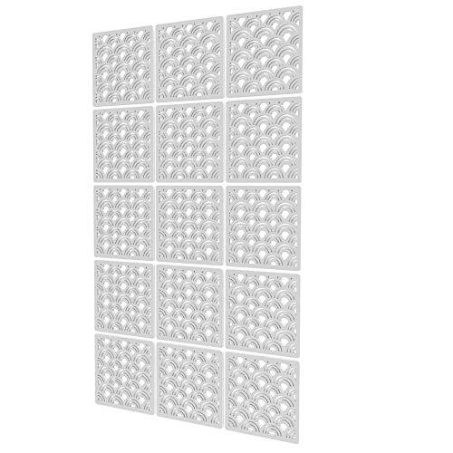 Biombos Modernos de 15 Piezas - 88x147cm - Blanco Panel Separador De Ambientes Nube Divisor Ambientes para El Baño, La Habitación De Los Niños, La Guardería - Perchero De Ventana Transparente par