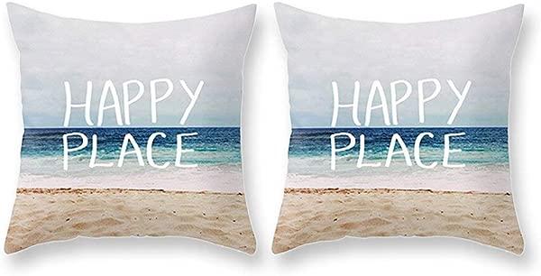 工具小工具装饰抱枕套 2 件快乐之地夏季沙滩枕套 18X18 棉麻 Sqaure 沙发床和汽车用抱枕