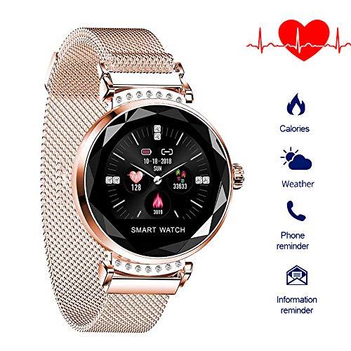 QIANRUNHE H2 Smartwatch für Damen, Schrittzähler, Fitness-Herzfrequenz-Monitor, Smart-Armband, Schrittzähler, Anruf- und Nachrichten-Erinnerung.
