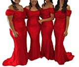 Bridesmaid Dress Sequin Prom Dresses Long Wedding Party Dresses Mermaid Bridesmaid Dresses Off Shoulder Red