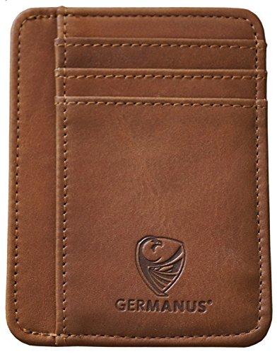 GERMANUS Delgada Monedero Tarjetero de Cuero de Crédito de Visita, Made in EU (Marrón)