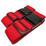 MONVENDO - Koffergurt | Kofferband | Gepäckband - Kofferstyle 200 cm 2-teilig Rot