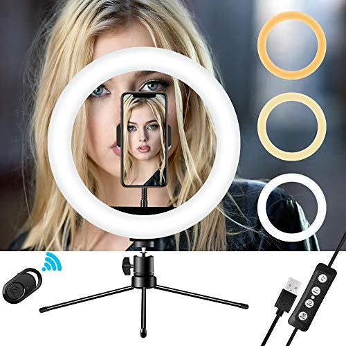 """LED Selfie Ring Light 10"""" with Tripod Stand & Phone Holder for Live Streaming & YouTube Video, Dimmable Desk Makeup Ring Light for Photography, with 3 Light Modes & 10 Brightness Level"""