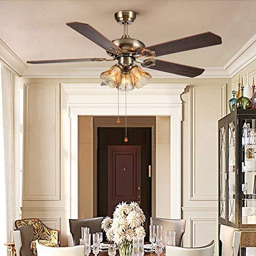 The only good quality interieur American Retro Fan kroonluchter woonkamer eetkamer slaapkamer Studio 5 ventilator hout 3 koppen plafondlamp glas brons 42 x 42 x 51 cm