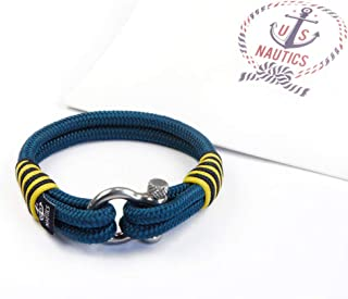 U.S. Nautics Blue Ocean Nautical Bracelets Beautiful Bracelets Made of Yachting Rope- Wide Variety of Designs&Colors-with Stainless Steel Buckle- Great Gift Idea for Men & Women