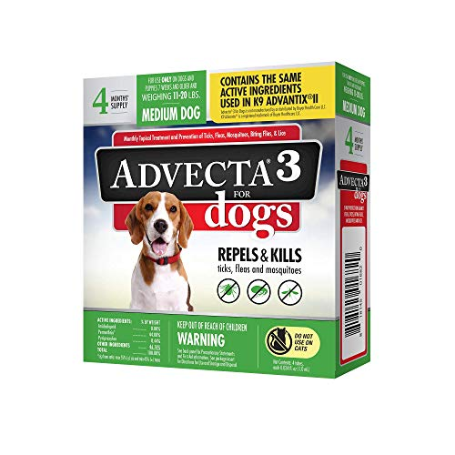 Advecta 3 Flea and Tick Topical Treatment, Flea and Tick Control For Dogs, Medium 11-20 lbs, 4 Month Supply
