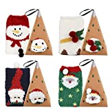 Bageek 4 Paia Calze Natalizie Babbo Natale Cesto Pupazzo Neve Stampa Calze Calde Calze Equipaggio per Donne Calze Invernali (new)