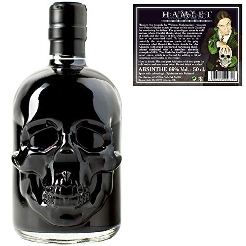 Schwarzer Absinth Hamlet Black | Mit Wermut / Thujon | 69% | Totenkopf Flasche | (1x 0.5 l)
