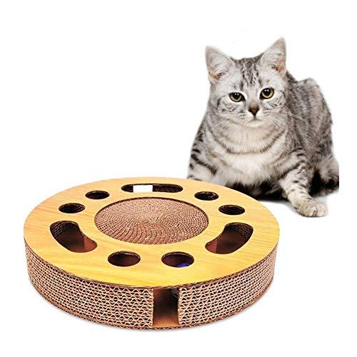 WeiCYN Lustige Katzenspielzeug Drehscheibe Kugel Cat Scratch Board Runde Corrugated Papier Drehscheibe Grinder Runde Multi Holes Grind Klaue Trainings