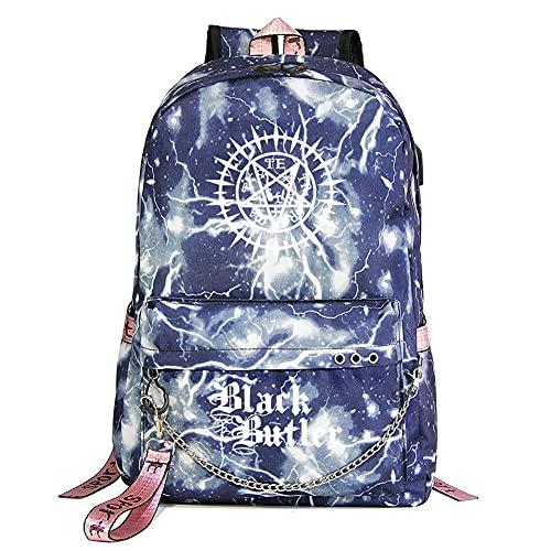 Black Butler Anime Starry Sky Lightning Plaid Prints Mochila Daypack Laptop Bag Bolsa de la universidad Bolsa de libro Bolsa de escuela