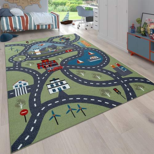 Paco Home Kinder-Teppich Für Kinderzimmer, Spiel-Teppich Mit Straßen-Motiv, In Grün, Grösse:140x200 cm