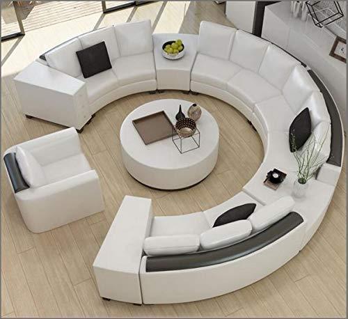 GKW Retail:- U Shape Sofa Set Curved Top Grain Round Leatherette (White and Black)