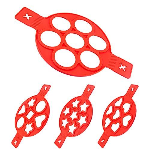 MICGEEK Pancake Form Flip Cooker Silikon Antihaft Pfannkuchenform Pfannkuchen Form Silikonform Silikonbackform für die Pfanne Backform für Pfanne Rot Rund Herz Sterne