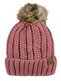 C.C Thick Cable Knit Faux Fuzzy Fur Pom Fleece Lined Skull Cap Cuff Beanie, Mauve