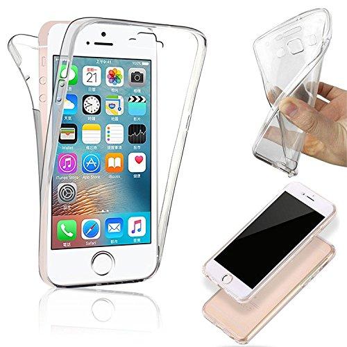 COPHONE Funda iPhone 5c, Transparente Silicona 360°Full Body Fundas para iPhone 5c Carcasa Silicona Funda Case.