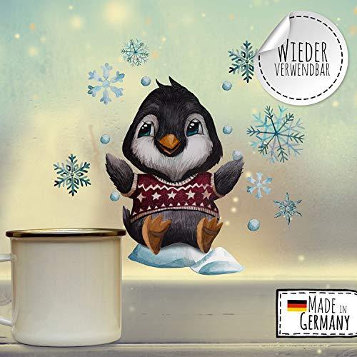 ilka parey wandtattoo-welt Fensterbilder Weihnachten Fensterbild Pinguin Schneeflocken wiederverwendbar Fensterdeko Winter Kinder bf79 - ausgewählte Größe: *5. Pinguin*