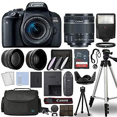 Canon 800D / Rebel T7i DSLR + 18-55mm is STM 3 Lens + 64GB Top Value Bundle - Telephoto Lens + Wide Angle Lens + 3 Piece Filter Kit + Tripod + Lens Hood + Flash + More - International Version from Canon International
