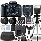 Canon 800D / Rebel T7i DSLR + 18-55mm is STM 3 Lens + 64GB Top Value Bundle - Telephoto Lens + Wide Angle Lens + 3 Piece Filter Kit + Tripod + Lens Hood + Flash + More - International Version