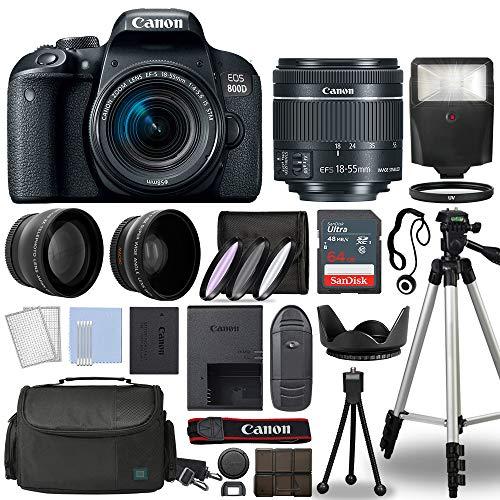 Canon 800D / Rebel T7i DSLR + 18-55mm is STM 3 Lens + 64GB Top Value Bundle...