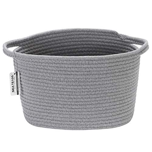 Sea Team Oval Cotton Rope Woven Storage Basket with Handles, Diaper Caddy, Nursery Nappies Organizer, Baby Shower Basket for Kid's Room, 12.2 x 8.7 x 9 Inches (Small Size, Grey)